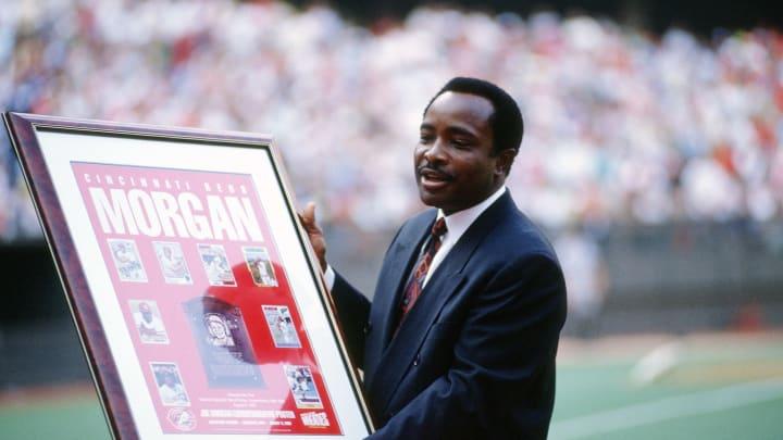 Former Cincinnati Reds second baseman Joe Morgan is honored by the team prior to a Major League Baseball game.