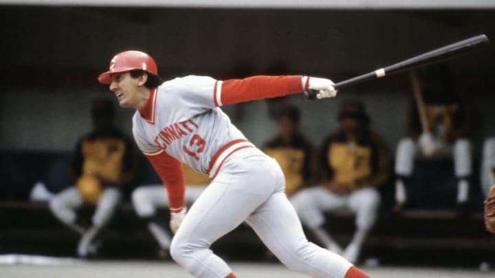 PITTSBURGH, PA - CIRCA 1985: Dave Concepcion #13 of the Cincinnati Reds bats a during an Major League baseball game circa 1985. (Photo by Focus on Sport/Getty Images)
