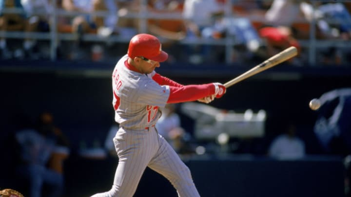 SAN DIEGO - JUNE 27: Chris Sabo #17 of the Cincinnati Reds hits the ball during a game against the San Diego Padres at Jack Murphy Stadium on June 27, 1993 in San Diego, California. (Photo by Stephen Dunn/Getty Images)