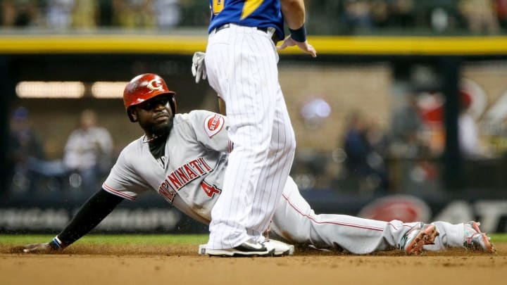 Brandon Phillips #4 of the Cincinnati Reds steals second base in the second inning.