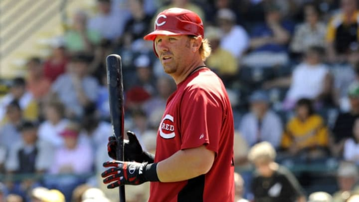 BRADENTON, FL - MARCH 21: Adam Dunn #44 of the Cincinnati Reds watches play from the on deck circle against the Pittsburgh Pirates March 21, 2008 at McKechnie Field in Bradenton, Florida. (Photo by Al Messerschmidt/Getty Images)