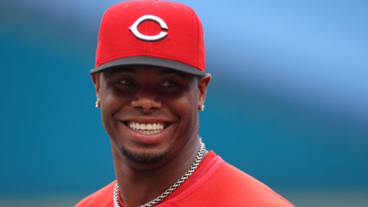 MIAMI - JUNE 9: Ken Griffey Jr. #3 of the Cincinnati Reds takes batting practice prior to seeking his 600th career home run against the Florida Marlins on June 9, 2008 at Dolphin Stadium in Miami, Florida. (Photo by Eliot J. Schechter/Getty Images)