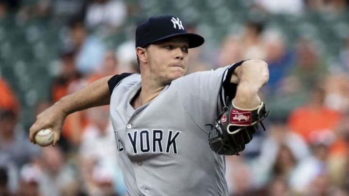 BALTIMORE, MD - JULY 11: Sonny Gray #55 of the New York Yankees pitches against the Baltimore Orioles during the first inning at Oriole Park at Camden Yards on July 11, 2018 in Baltimore, Maryland. (Photo by Scott Taetsch/Getty Images)