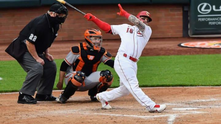 CINCINNATI, OH - MAY 17: Tucker Barnhart #16 of the Cincinnati Reds bats. (Photo by Jamie Sabau/Getty Images)