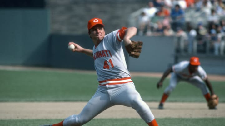 NEW YORK - CIRCA 1979: Pitcher Tom Seaver #41 of the Cincinnati Reds pitches against the New York Mets during a Major League Baseball game circa 1979 at Shea Stadium. (Photo by Focus on Sport/Getty Images)