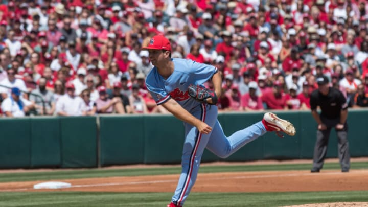 Jun 10, 2019; Fayetteville, AR, USA; Mississippi Rebels pitcher Gunnar Hoglund (17) throws a pitch. Mandatory Credit: Brett Rojo-USA TODAY Sports