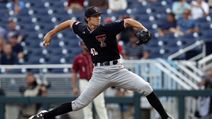 Jun 19, 2019; Omaha, NE, USA; Texas Tech Red Raiders pitcher Bryce Bonnin (40) throws in the first inning against the Florida State Seminoles in the 2019 College World Series. Mandatory Credit: Bruce Thorson-USA TODAY Sports