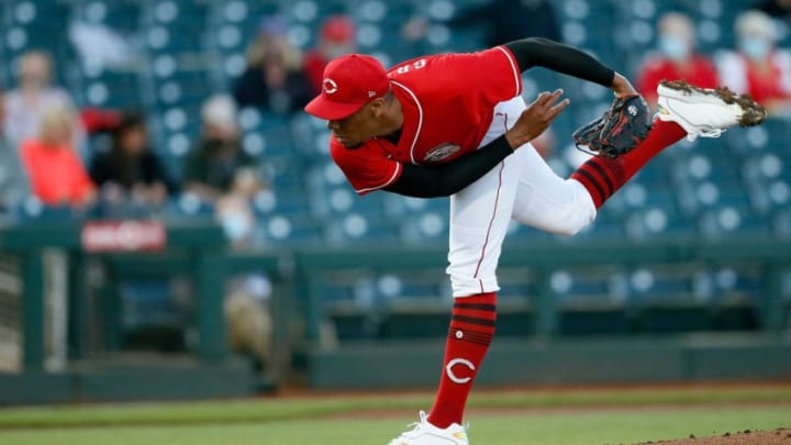 Cincinnati Reds starting pitcher Hunter Greene (79) throws a pitch in the first inning.
