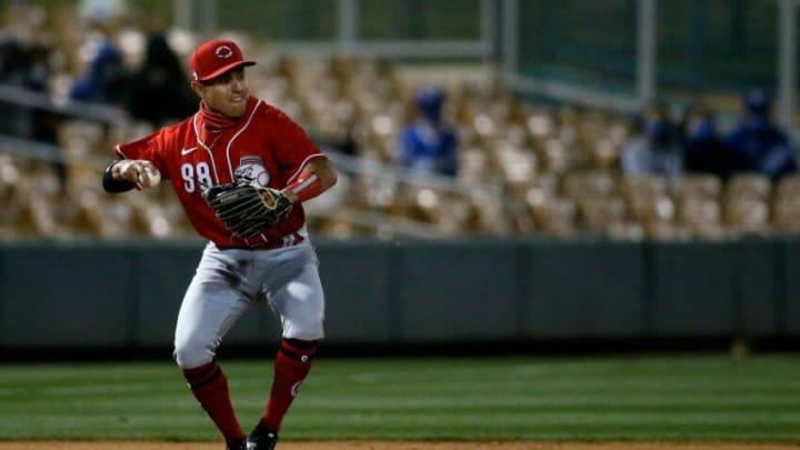 Cincinnati Reds third baseman Alejo Lopez (98) fields a ground ball.