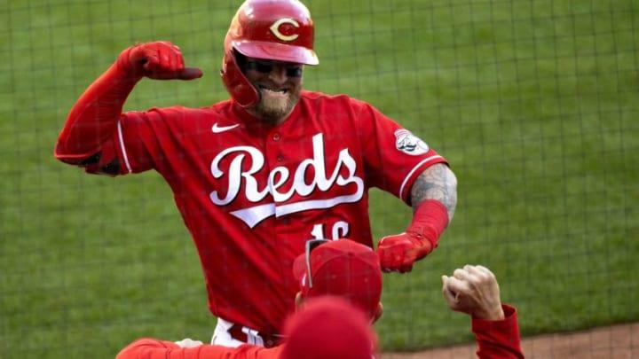 Cincinnati Reds catcher Tucker Barnhart (16) celebrates.
