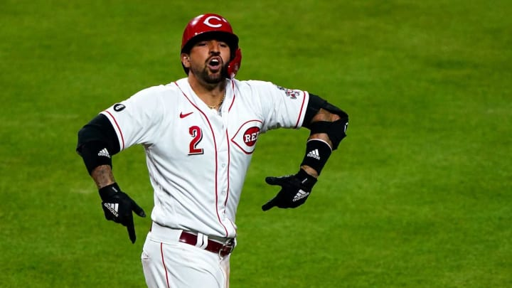 Cincinnati Reds right fielder Nick Castellanos (2) reacts after hitting a solo home run.