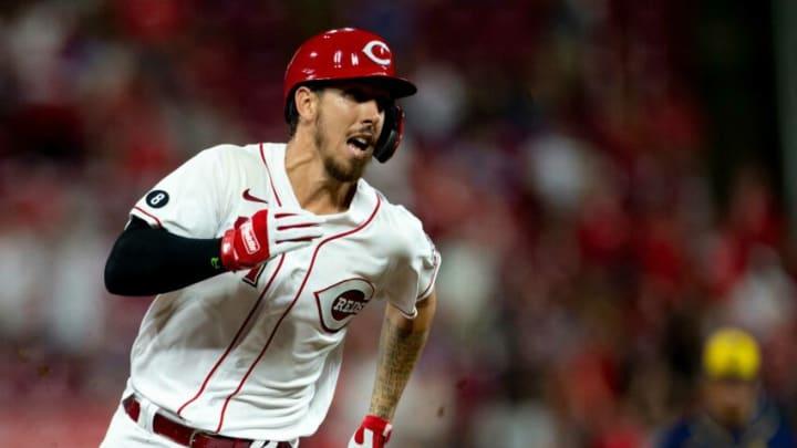 Cincinnati Reds base runner Michael Lorenzen heads towards third in the tenth inning of the MLB baseball game.