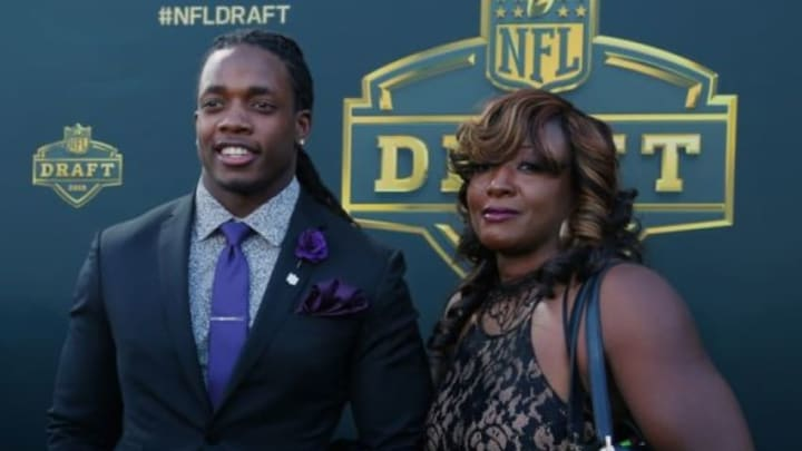 Apr 30, 2015; Chicago, IL, USA; Melvin Gordon (Wisconsin) and Carmen Gordon arrive on the gold carpet before the first round of the 2015 NFL Draft at the Auditorium Theatre of Roosevelt University. Mandatory Credit: Dennis Wierzbicki-USA TODAY Sports