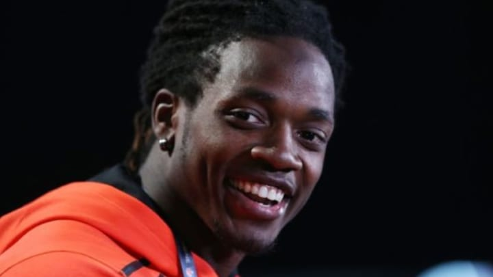 Feb 19, 2015; Indianapolis, IN, USA; Wisconsin Badgers running back Melvin Gordon speaks to the media during the 2015 NFL Combine at Lucas Oil Stadium. Mandatory Credit: Brian Spurlock-USA TODAY Sports