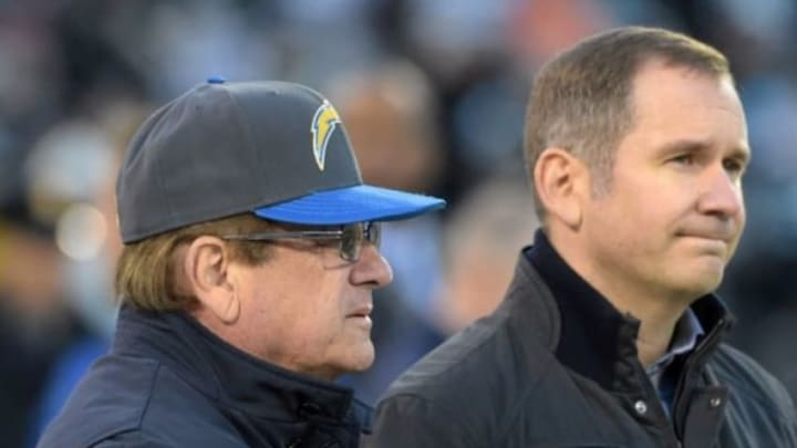 Dec 24, 2015; Oakland, CA, USA; San Diego Chargers president Dean Spanos and A.G. Spanos before an NFL football game against the Oakland Raiders at O.co Coliseum. Mandatory Credit: Kirby Lee-USA TODAY Sports