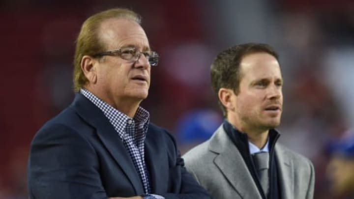 December 20, 2014; Santa Clara, CA, USA; San Diego Chargers president Dean Spanos (left) and executive vice president of football operations John Spanos (right) before the game against the San Francisco 49ers at Levi