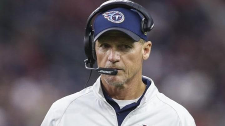 Nov 1, 2015; Houston, TX, USA; Tennessee Titans head coach Ken Whisenhunt on the sideline during the fourth quarter against the Houston Texans at NRG Stadium. Mandatory Credit: Troy Taormina-USA TODAY Sports