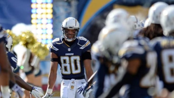 Dec 6, 2015; San Diego, CA, USA; San Diego Chargers wide receiver Malcom Floyd (80) is introduced before the game against the Denver Broncos at Qualcomm Stadium. Mandatory Credit: Jake Roth-USA TODAY Sports