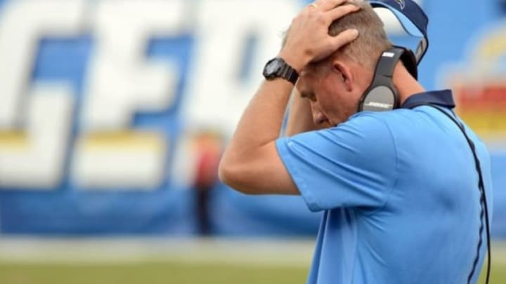 Dec 6, 2015; San Diego, CA, USA; San Diego Chargers head coach Mike McCoy reacts during the fourth quarter against the Denver Broncos at Qualcomm Stadium. Mandatory Credit: Jake Roth-USA TODAY Sports