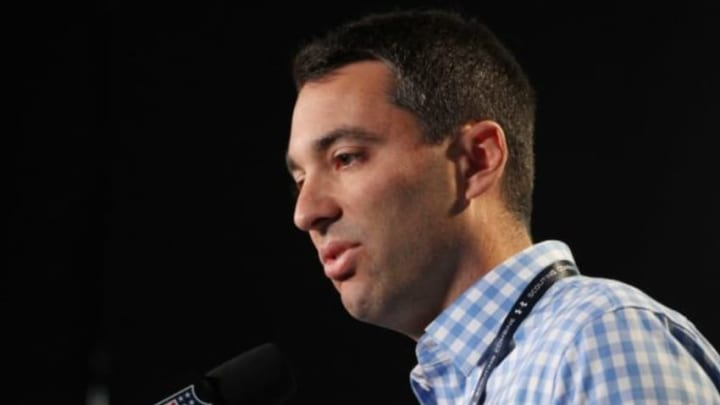 Feb 18, 2015; Indianapolis, IN, USA; San Diego Chargers general manager Tom Telesco speaks at a press conference during the 2015 NFL Combine at Lucas Oil Stadium. Mandatory Credit: Brian Spurlock-USA TODAY Sports
