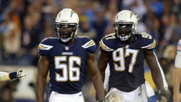 Nov 9, 2015; San Diego, CA, USA; San Diego Chargers inside linebacker Donald Butler (56) and outside linebacker Jeremiah Attaochu (97) react during the third quarter against the Chicago Bears at Qualcomm Stadium. Mandatory Credit: Jake Roth-USA TODAY Sports