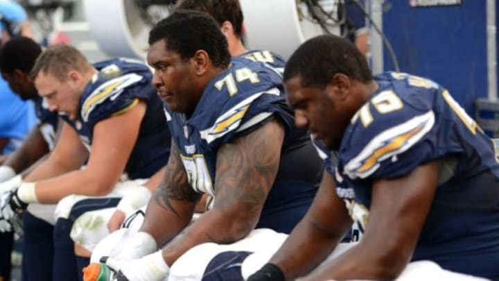 Dec 6, 2015; San Diego, CA, USA; San Diego Chargers offensive guard Orlando Franklin (74) and offensive tackle Chris Hairston (75) look on from the bench during the fourth quarter against the Denver Broncos at Qualcomm Stadium. Mandatory Credit: Jake Roth-USA TODAY Sports
