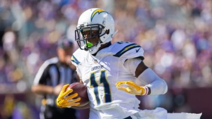 Sep 27, 2015; Minneapolis, MN, USA; San Diego Chargers wide receiver Stevie Johnson (11) runs after the catch in the fourth quarter against the Minnesota Vikings at TCF Bank Stadium. The Minnesota Vikings beat the San Diego Chargers 31-14. Mandatory Credit: Brad Rempel-USA TODAY Sports