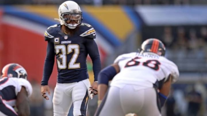 Dec 6, 2015; San Diego, CA, USA; San Diego Chargers free safety Eric Weddle (32) looks across the line during the second quarter against the Denver Broncos at Qualcomm Stadium. Mandatory Credit: Jake Roth-USA TODAY Sports