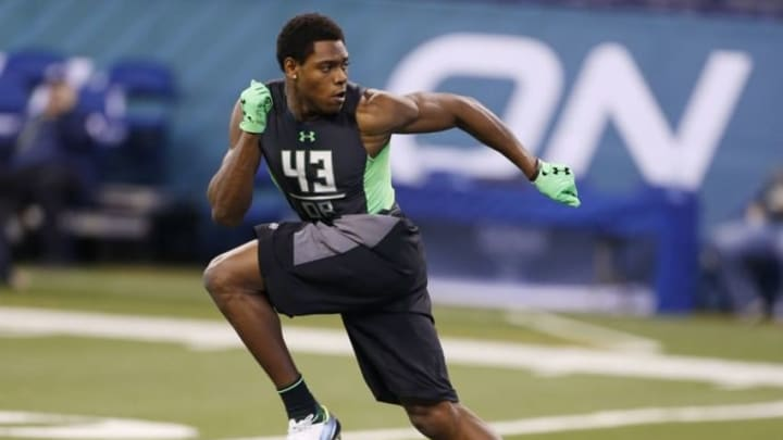 Feb 29, 2016; Indianapolis, IN, USA; Florida State Seminoles defensive back Jalen Ramsey goes through a workout drill during the 2016 NFL Scouting Combine at Lucas Oil Stadium. Mandatory Credit: Brian Spurlock-USA TODAY Sports