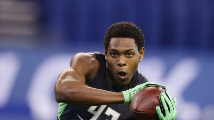 Feb 29, 2016; Indianapolis, IN, USA; Florida State Seminoles defensive back Jalen Ramsey catches a pass during the 2016 NFL Scouting Combine at Lucas Oil Stadium. Mandatory Credit: Brian Spurlock-USA TODAY Sports