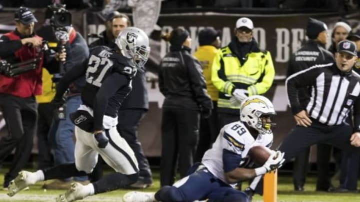 Dec 24, 2015; Oakland, CA, USA; San Diego Chargers tight end Ladarius Green (89) tries to control the ball against Oakland Raiders strong safety Taylor Mays (27) during the fourth quarter at O.co Coliseum. The Oakland Raiders defeated the San Diego Chargers 23-20. Mandatory Credit: Kelley L Cox-USA TODAY Sports