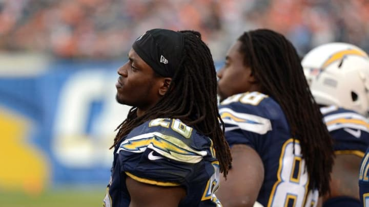 Dec 6, 2015; San Diego, CA, USA; San Diego Chargers running back Melvin Gordon (28) looks on during the fourth quarter against the Denver Broncos at Qualcomm Stadium. Mandatory Credit: Jake Roth-USA TODAY Sports