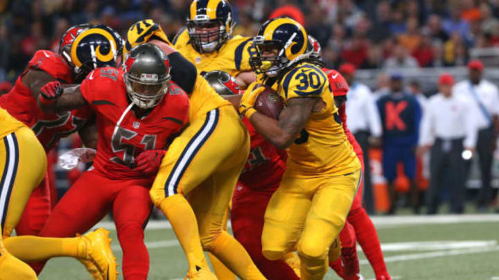 Dec 17, 2015; St. Louis, MO, USA; St. Louis Rams running back Todd Gurley (30) carries the ball in the first half against the Tampa Bay Buccaneers at the Edward Jones Dome. Mandatory Credit: Aaron Doster-USA TODAY Sports