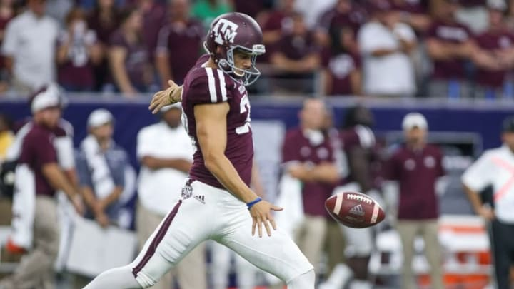 Sep 5, 2015; Houston, TX, USA; Texas A&M Aggies punter Drew Kaser (38) punts the ball during the game against the Arizona State Sun Devils at NRG Stadium. Mandatory Credit: Troy Taormina-USA TODAY Sports