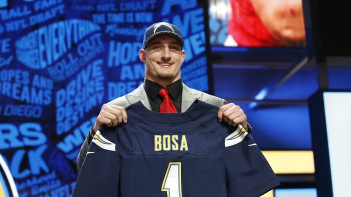 Apr 28, 2016; Chicago, IL, USA; Joey Bosa (Ohio State) after being selected by the San Diego Chargers as the number three overall pick in the first round of the 2016 NFL Draft at Auditorium Theatre. Mandatory Credit: Kamil Krzaczynski-USA TODAY Sports