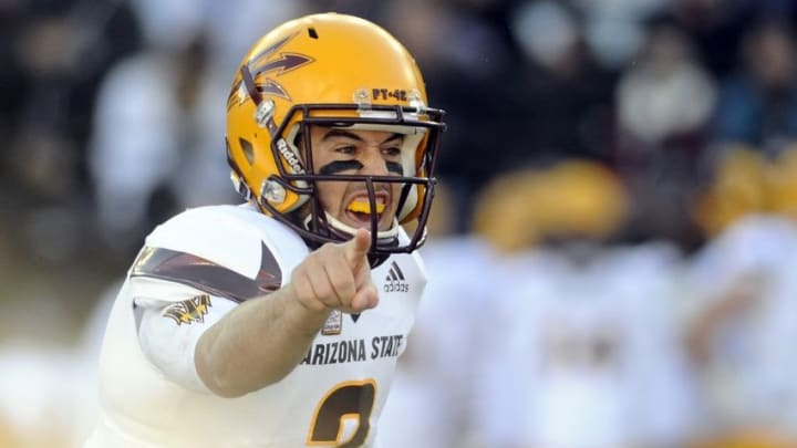 Nov 7, 2015; Pullman, WA, USA; Arizona State Sun Devils quarterback Mike Bercovici (2) lines up for a snap against the Washington State Cougars during the first half at Martin Stadium. Mandatory Credit: James Snook-USA TODAY Sports