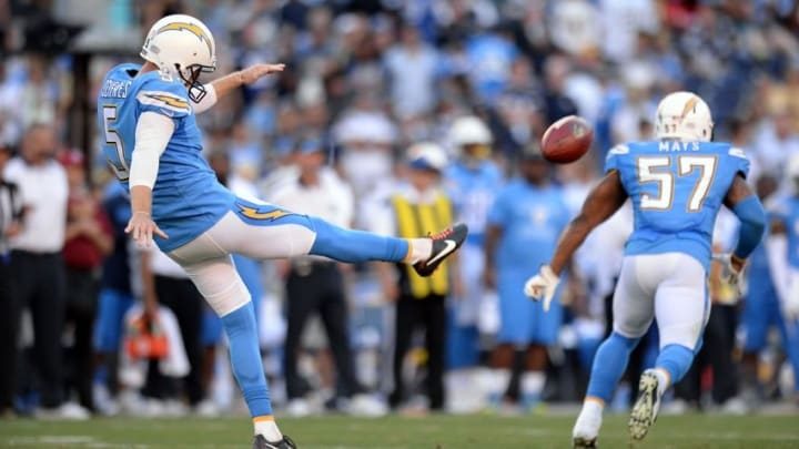Nov 22, 2015; San Diego, CA, USA; San Diego Chargers punter Mike Scifres (5) punts during the fourth quarter against the Kansas City Chiefs at Qualcomm Stadium. Mandatory Credit: Jake Roth-USA TODAY Sports