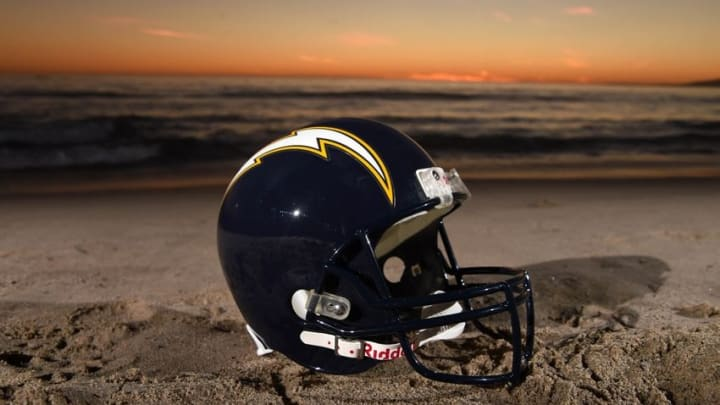 Feb 16, 2016; Los Angeles, CA, USA; General view of San Diego Chargers navy blue helmet (1988-2006) at Santa Monica State Beach. NFL owners voted 30-2 to allow Rams owner Stan Kroenke (not pictured) to move the St. Louis Rams to Los Angeles for the 2016 season. Chargers owner Dean Spanos (not pictured) has an option join the Rams in Los Angeles. Mandatory Credit: Kirby Lee-USA TODAY Sports
