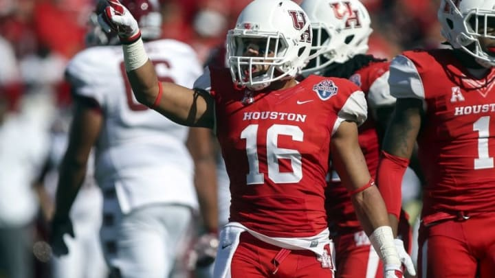 Dec 5, 2015; Houston, TX, USA; Houston Cougars safety Adrian McDonald (16) reacts after a play during the first half against the Temple Owls in the Mid-American Conference football championship game at TDECU Stadium. Mandatory Credit: Troy Taormina-USA TODAY Sports