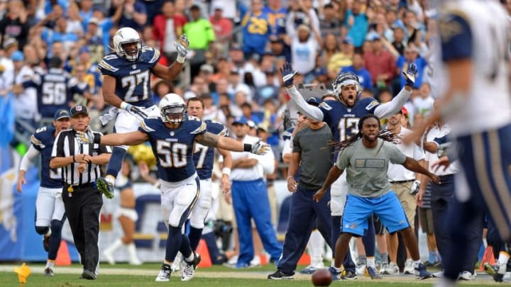 Nov 23, 2014; San Diego, CA, USA; The San Diego Chargers bench along with defensive back Adrian Phillips (27) reacts to a pass interference call on linebacker Manti Te