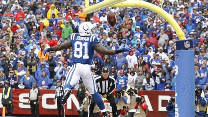 Sep 13, 2015; Orchard Park, NY, USA; Indianapolis Colts wide receiver Andre Johnson (81) is unable to hold on to a pass to him in the end zone during the second half against the Buffalo Bills at Ralph Wilson Stadium. Bills beat the Colts 27-14. Mandatory Credit: Kevin Hoffman-USA TODAY Sports