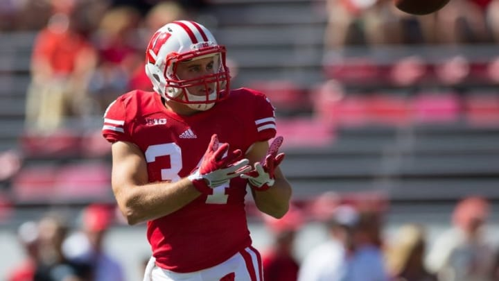 Sep 19, 2015; Madison, WI, USA; Wisconsin Badgers fullback Derek Watt (34) catches a pass during warmups prior to the game against the Troy Trojans at Camp Randall Stadium. Wisconsin won 28-3. Mandatory Credit: Jeff Hanisch-USA TODAY Sports