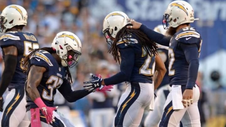Oct 12, 2015; San Diego, CA, USA; San Diego Chargers strong safety Jahleel Addae (37) cornerback Jason Verrett (22) and free safety Eric Weddle (32) reacts during the first quarter against the Pittsburgh Steelers at Qualcomm Stadium. Mandatory Credit: Jake Roth-USA TODAY Sports