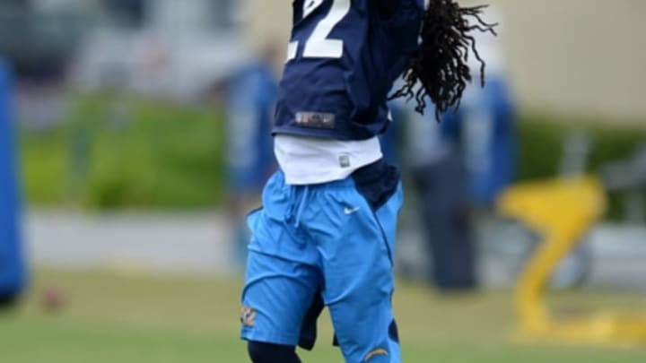 May 26, 2015; San Diego, CA, USA; San Diego Chargers cornerback Jason Verrett (22) catches a ball during a drill during organized team activities at Charger Park. Mandatory Credit: Jake Roth-USA TODAY Sports