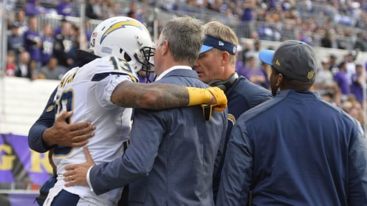 Nov 1, 2015; Baltimore, MD, USA; San Diego Chargers medical staff help wide receiver Keenan Allen (13) off the field after an injury during the second quarter against the Baltimore Ravens at M&T Bank Stadium. Mandatory Credit: Tommy Gilligan-USA TODAY Sports