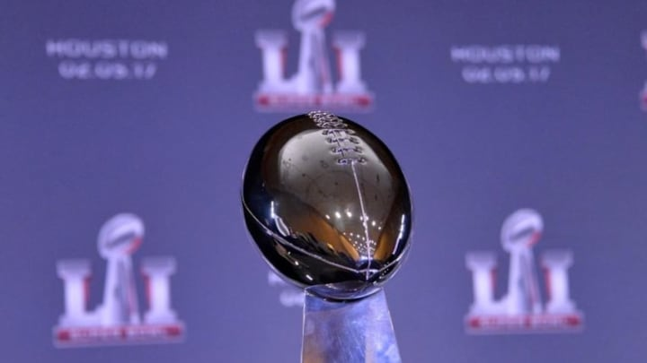 Feb 8, 2016; San Francisco, CA, USA; General view of Super Bowl LI logo and Lombardi Trophy during press conference at the Moscone Center. Mandatory Credit: Kirby Lee-USA TODAY Sports