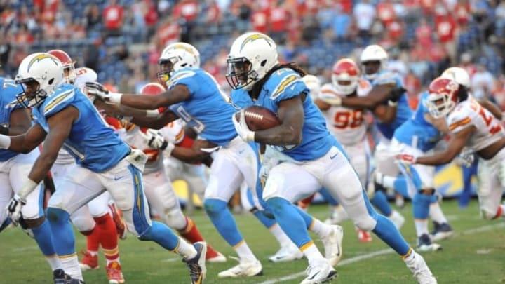 Nov 22, 2015; San Diego, CA, USA; San Diego Chargers running back Melvin Gordon (28) runs the ball during the second half of the game against the Kansas City Chiefs at Qualcomm Stadium. Kansas City won 33-3. Mandatory Credit: Orlando Ramirez-USA TODAY Sports