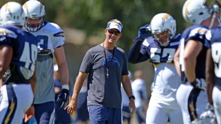Aug 5, 2015; San Diego, CA, USA; San Diego Chargers head coach Mike McCoy (center) smiles during minicamp at Chargers Park. Mandatory Credit: Jake Roth-USA TODAY Sports