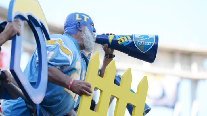 Nov 22, 2015; San Diego, CA, USA; A San Diego Chargers fan yells during the second quarter against the Kansas City Chiefs at Qualcomm Stadium. Mandatory Credit: Jake Roth-USA TODAY Sports