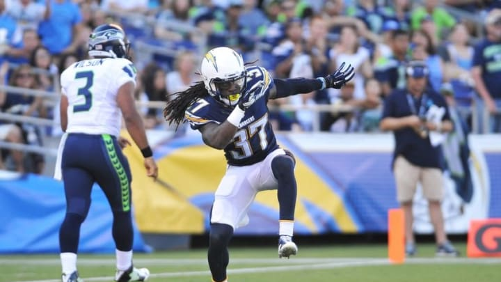 Aug 29, 2015; San Diego, CA, USA; San Diego Chargers defensive back Jahleel Addae (37) celebrates after forcing Seattle Seahawks quarterback Russell Wilson (3) to be penalized for intentional grounding at Qualcomm Stadium. Mandatory Credit: Orlando Ramirez-USA TODAY Sports